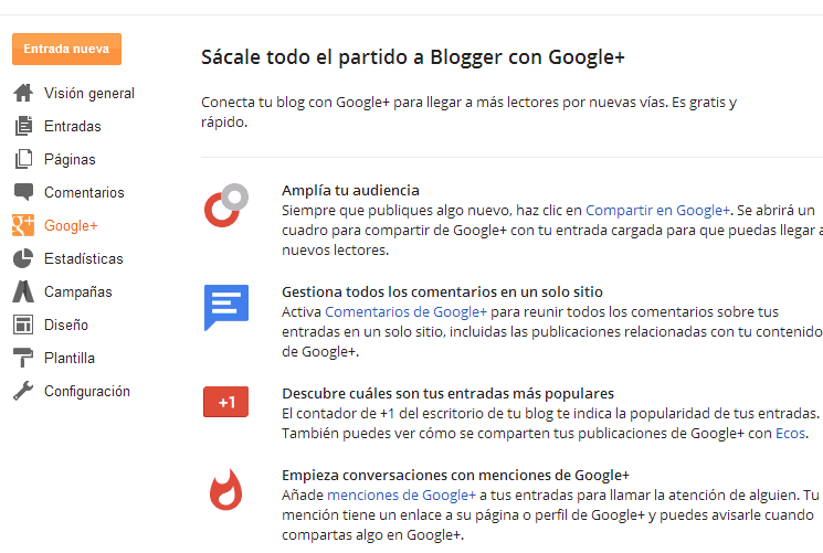 Google plus y blogspot