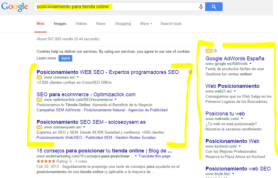 resultados en google adwords