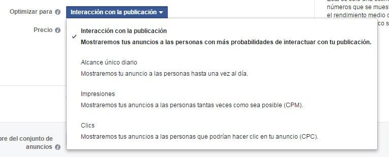 opciones avanzadas facebook