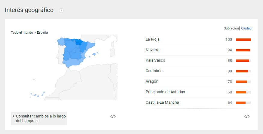 interés geográfico Google Trends