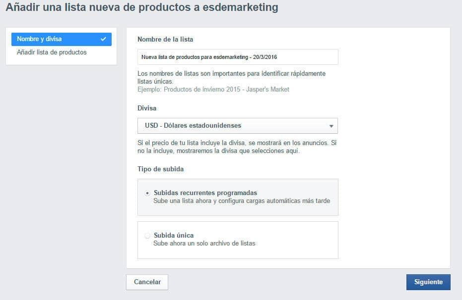 cargar productos en facebook