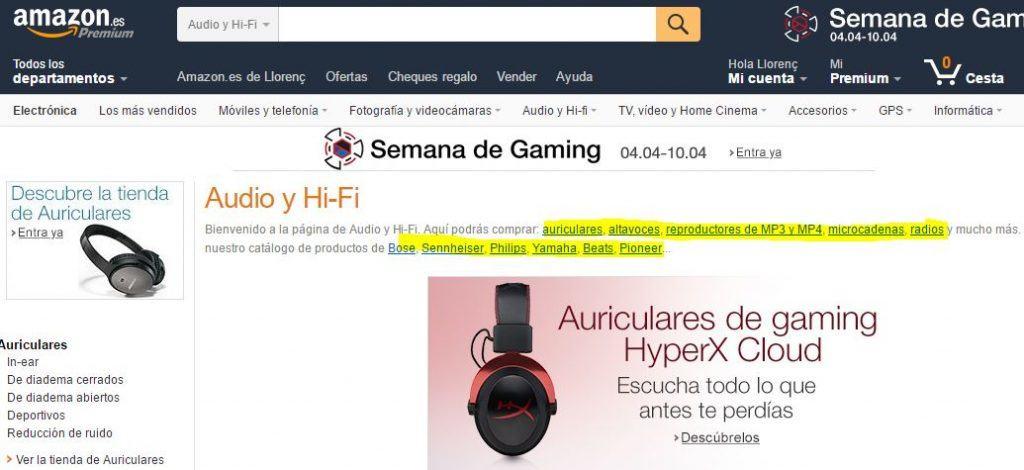 links internos en Amazon