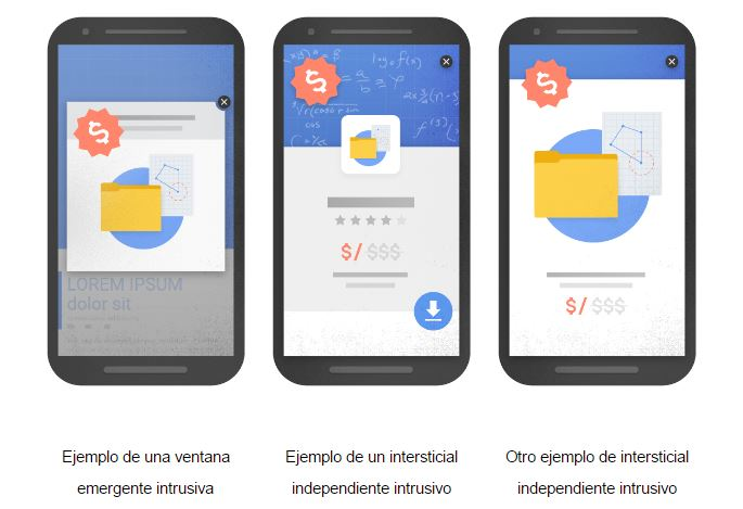 banners pop-up no recomendables Google