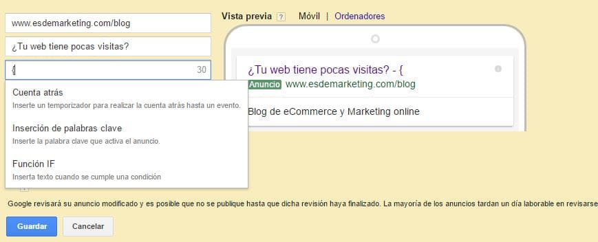 Funcion IF Google Adwords
