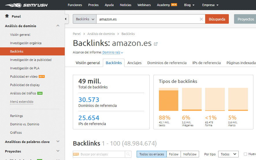 analisis enlaces backlinks de la competencia